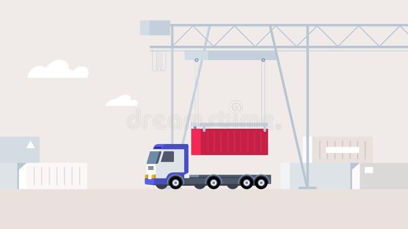 Kranen sätter behållaren på lastbilplattformen arkivfoto