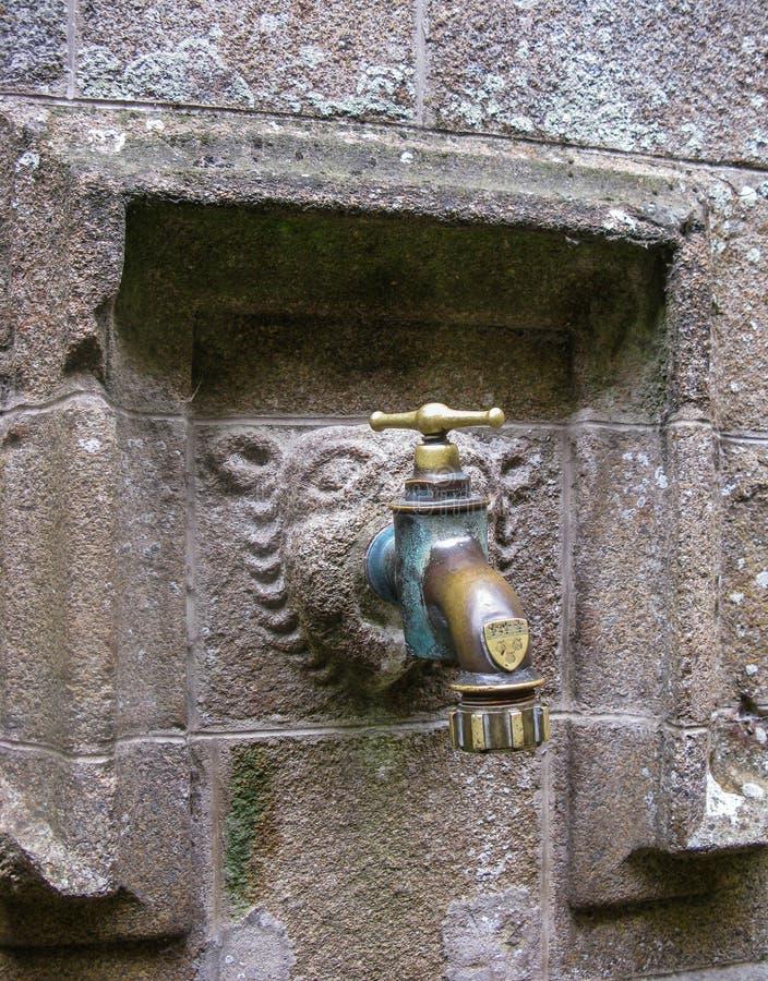 Kranen, som vallfärdar från, drack en gång vatten Mont Saint-Michel, Frankrike arkivfoto