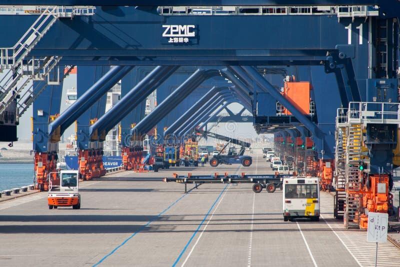 Kranen van de haven de verschepende brug royalty-vrije stock foto's