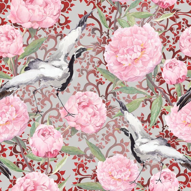 Kranfåglar, pionblommor Blom- upprepande utsmyckad modell vattenfärg royaltyfri illustrationer