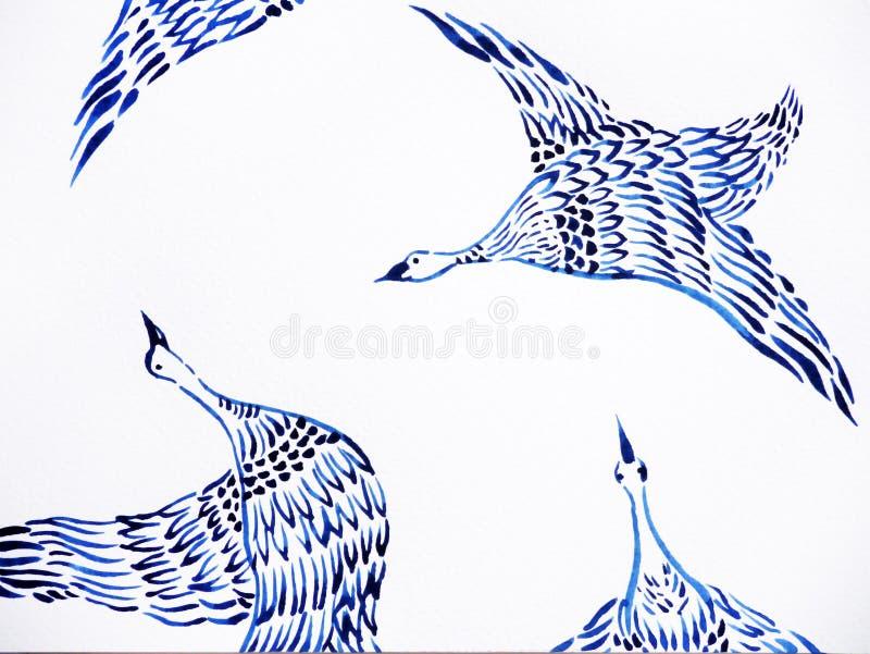 Kranfåglar som flyger vattenfärgmålning, räcker utdragen japansk stil stock illustrationer