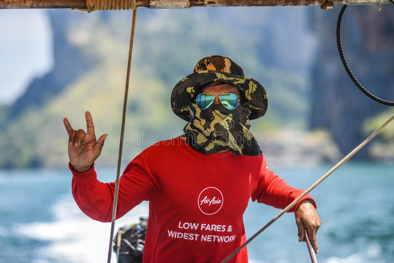 Krani,泰国, 2016年3月09日:航行lo的一个人的画象 库存照片