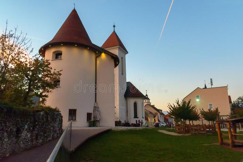 St. Roch`s and St. Fabian Church in old town Kranj in Slovenia. Kranj, Slovenia - October 25, 2018: St. Roch`s and St. Fabian Church in old town Kranj royalty free stock photography