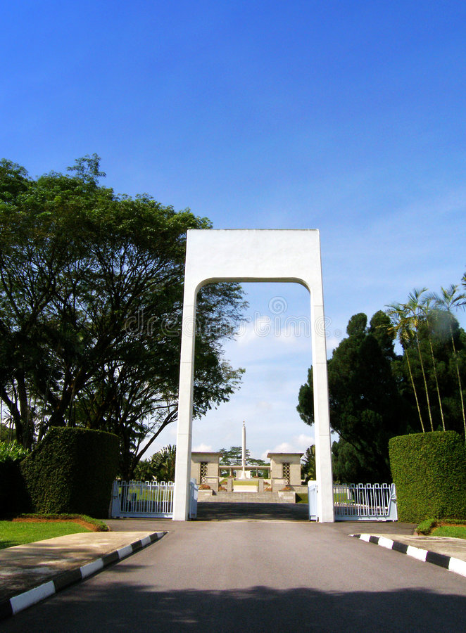 Kranji World War II Memorial Singapore Mandai Road. The arch at the entrance to the Kranji War Memorial in Singapore, a State Cemetery that commemorates the stock photos