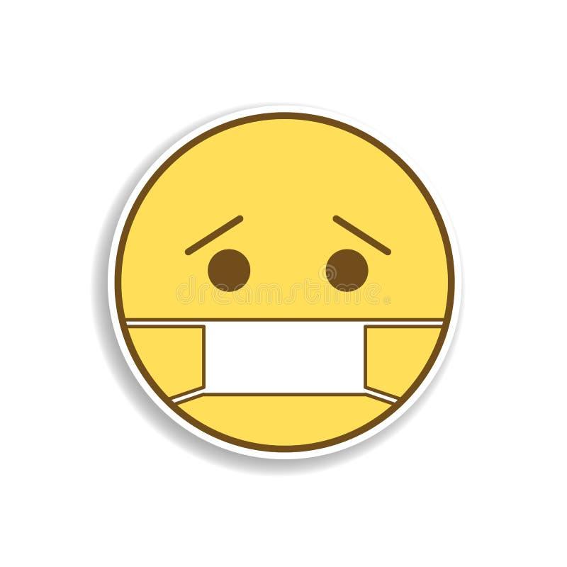 kranke farbige emoji Aufkleberikone Element von emoji für bewegliche Konzept und Netz Appsillustration lizenzfreie abbildung