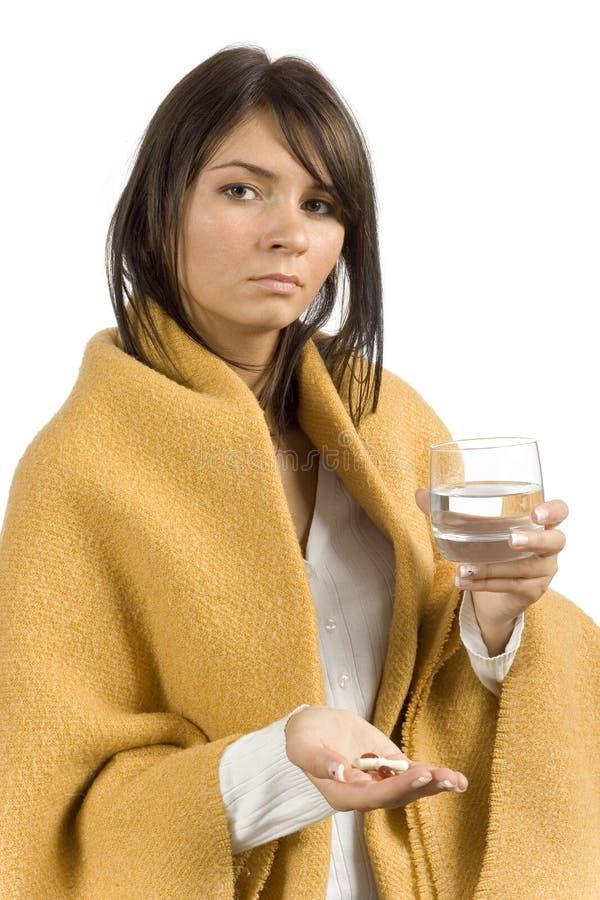 Kranke Frau mit Drogen lizenzfreie stockfotos