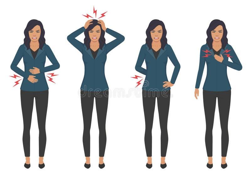 Kranke Frau mit Schmerzproblemen, Hauptkastenrückseite und Magenschmerzen lizenzfreie abbildung
