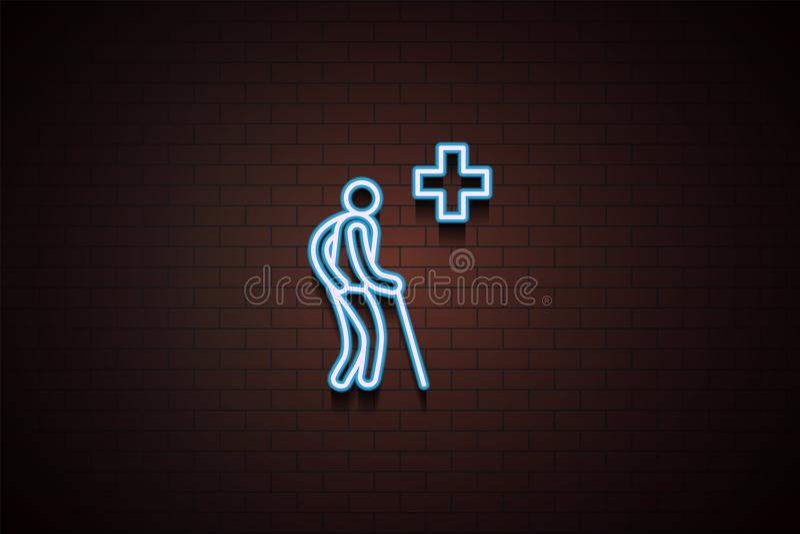 kranke Ikone im Neon stock abbildung