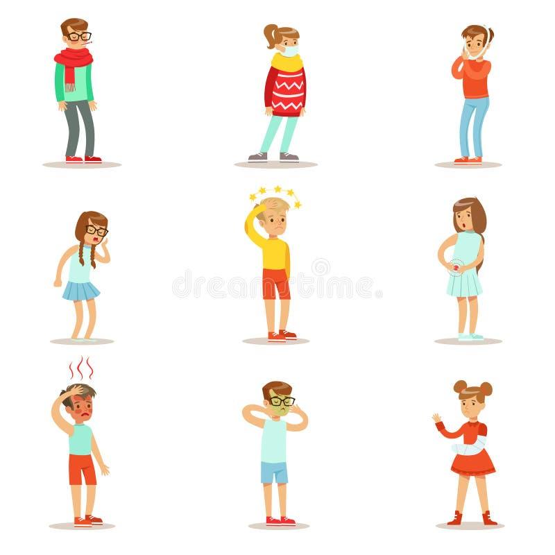 Kranke Kinder, die unwohlem Leiden von der Krankheit oder Verletzung benötigen Gesundheitswesen-medizinische Hilfssammlung der Ka lizenzfreie abbildung