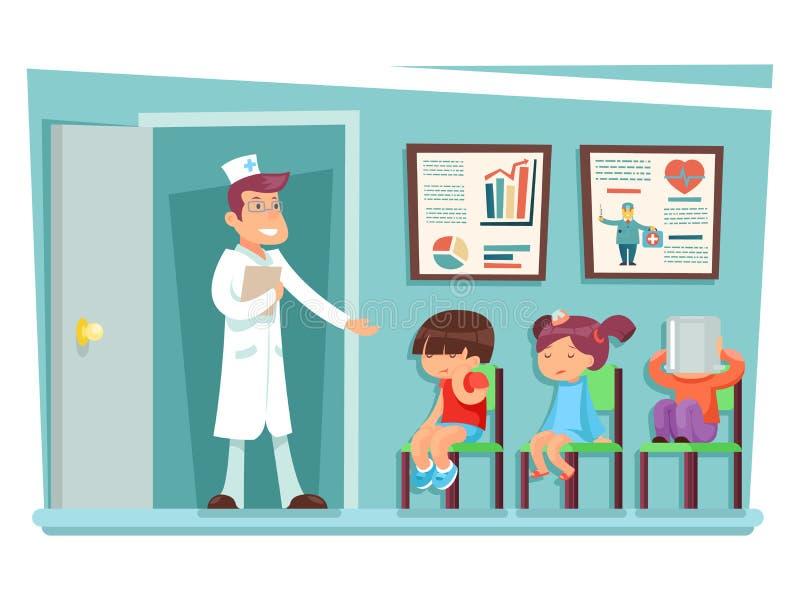 Kranke Kinder an Doktor, der auf Stuhlzeichentrickfilm-figuren sitzt, vector Illustration lizenzfreie abbildung