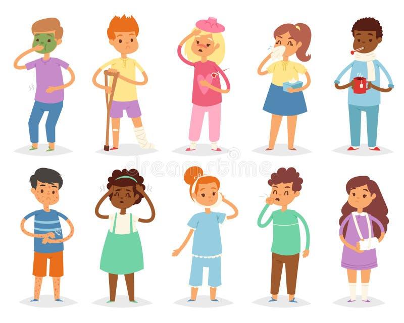 Kranke Kinder vector Kind mit Kopfschmerzen und Temperatur und die Kinder, die einen Kälte- oder Grippeillustrationssatz der Kran vektor abbildung
