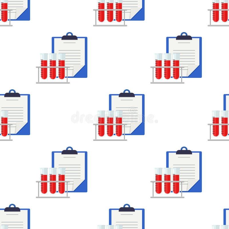 Krankenblätter und Blutprobe nahtlos stock abbildung