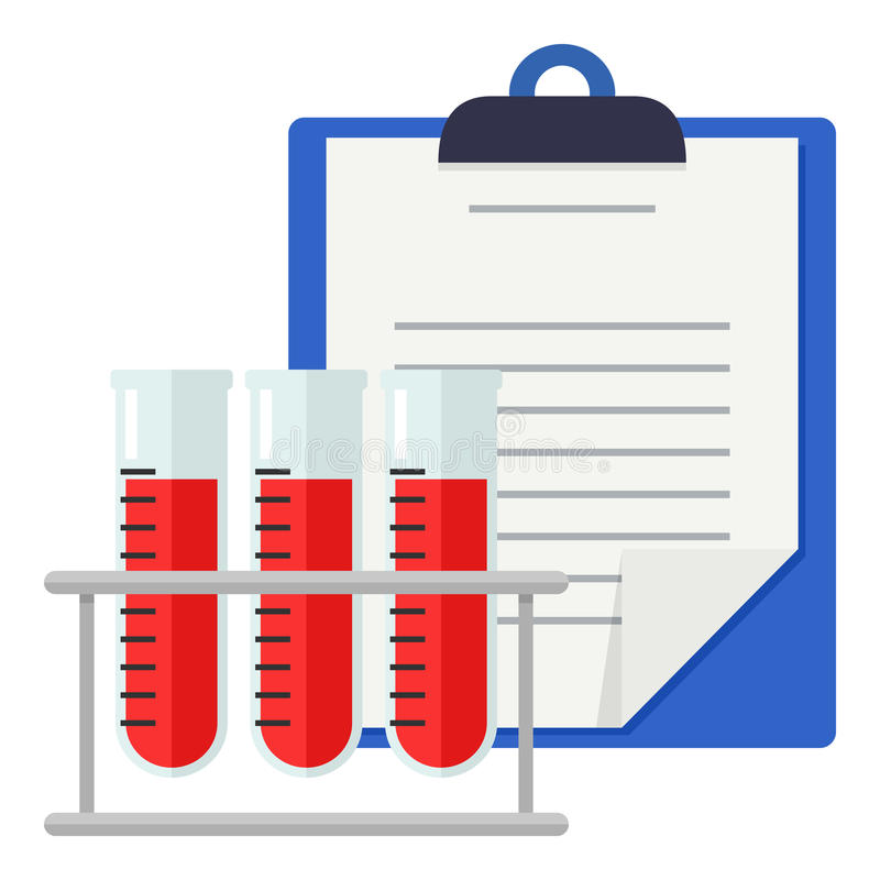 Krankenblatt-u. Blutprobe-flache Ikone vektor abbildung
