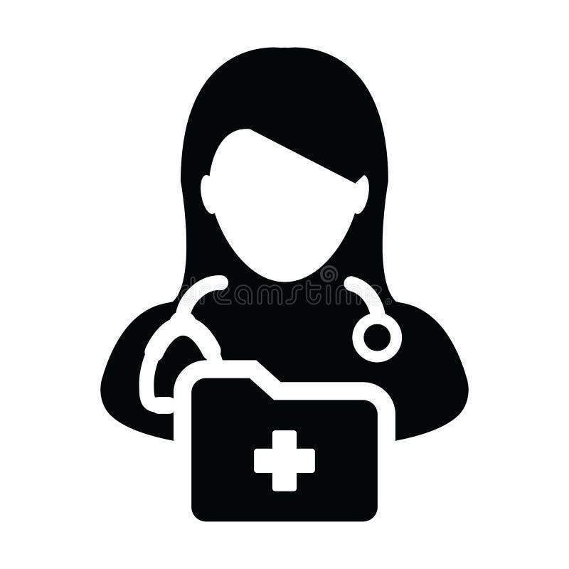 Krankenblattikonenvektor mit Ärztinpersonen-Profilavatara mit Stethoskop und Ordner für Gesundheitsberatung lizenzfreie abbildung