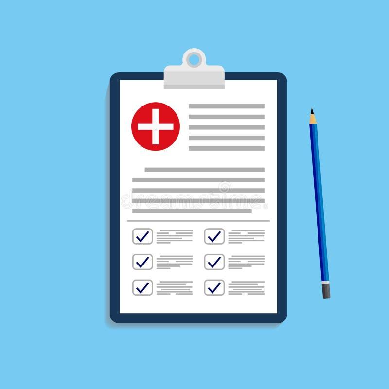 Krankengeschichte, Verordnung, Bericht der medizinischen Überprüfung, Krankenversicherungskonzepte Klemmbrett mit Checklistenvekt lizenzfreie abbildung