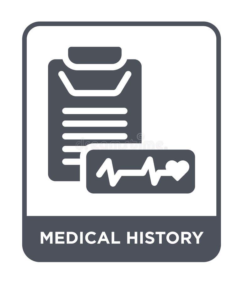 Krankengeschichteikone in der modischen Entwurfsart Krankengeschichteikone lokalisiert auf weißem Hintergrund Krankengeschichteve lizenzfreie abbildung