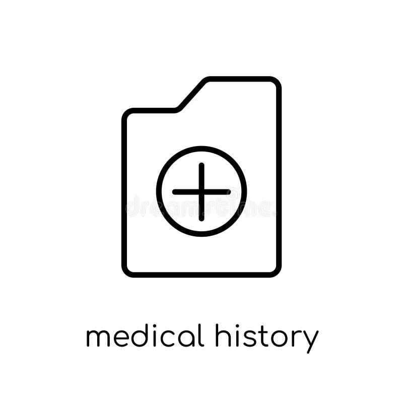Krankengeschichteikone Modischer moderner flacher linearer Vektor medizinisches h stock abbildung