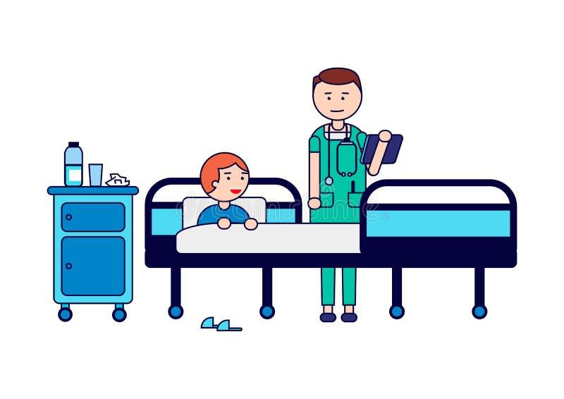 Krankenhaus Behandeln Sie mit einem Patienten im Bezirk Beratung und medizinische Diagnose für kranken Mann Getrennt auf weißem H stock abbildung