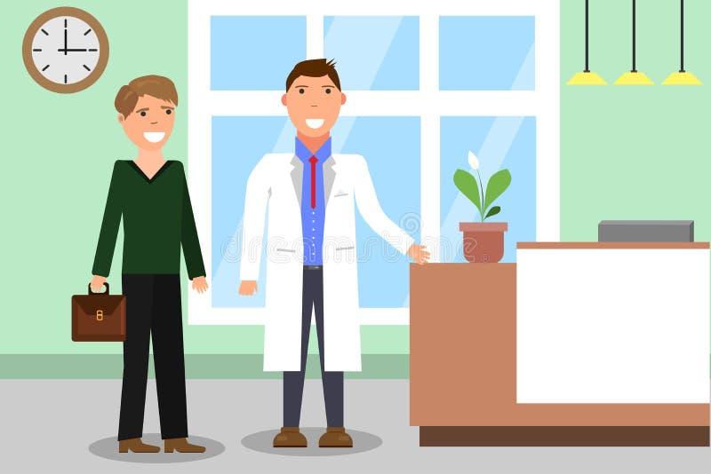 Krankenhaus Doktor und Patient an der Aufnahme an der Klinik Beratung und medizinische Diagnose für Krankheitsleute lizenzfreie abbildung