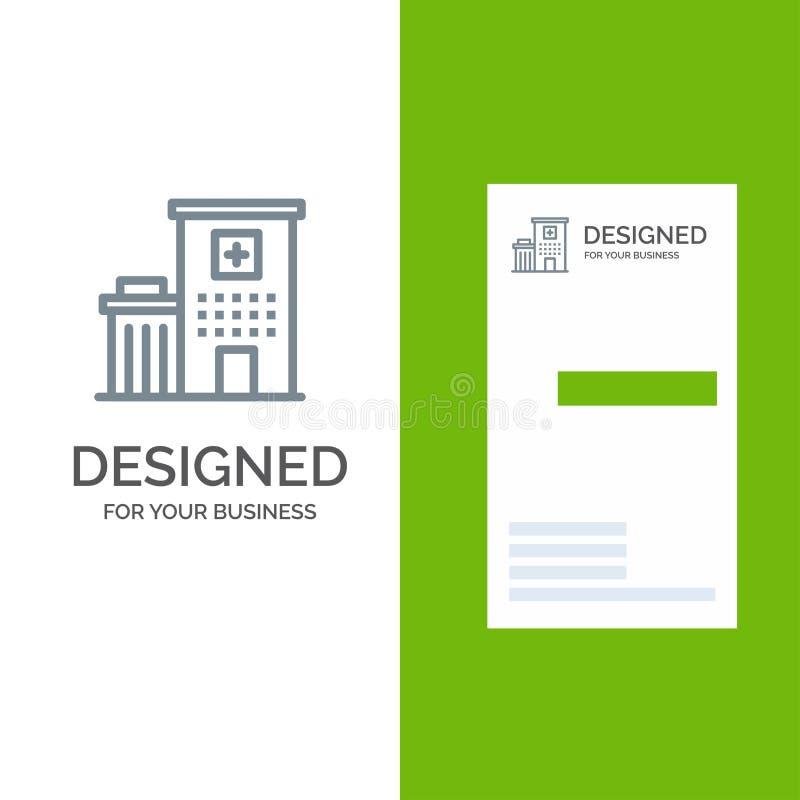 Krankenhaus, Gebäude, Klinik, medizinischer Grey Logo Design und Visitenkarte-Schablone vektor abbildung