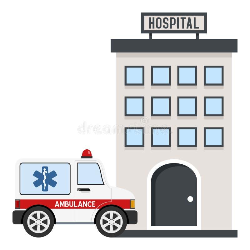 Krankenhaus-Gebäude u. Krankenwagen-flache Ikone lizenzfreie abbildung