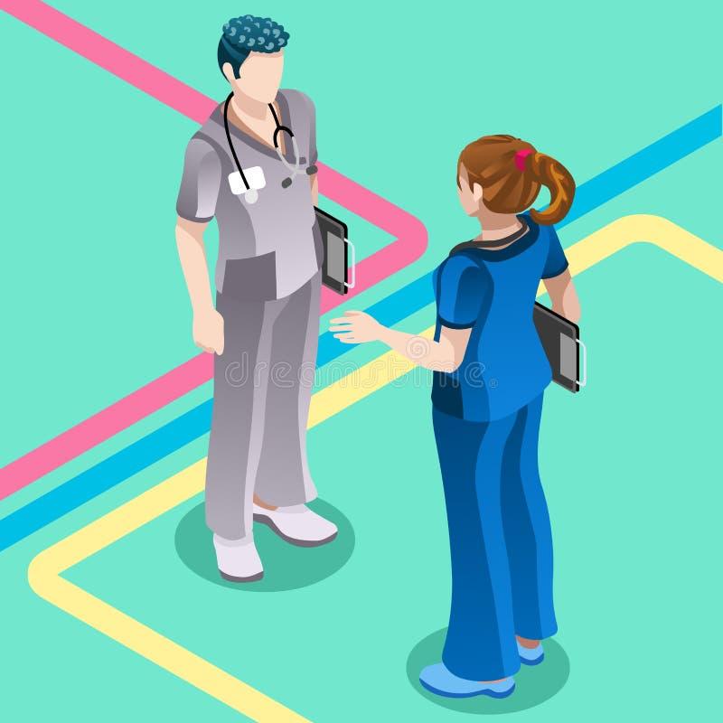 Krankenhaus-Krankenschwester-Student Talking mit Doktor Vector Isometric Peop vektor abbildung