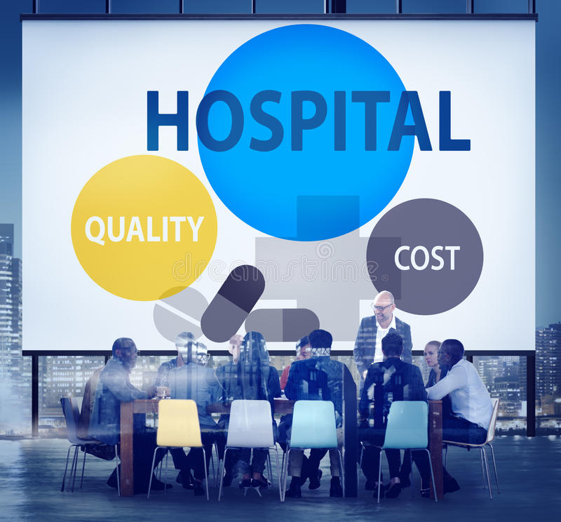 Krankenhaus-Qualitäts-Kosten-Gesundheitswesen-Behandlungs-Konzept lizenzfreie stockfotos