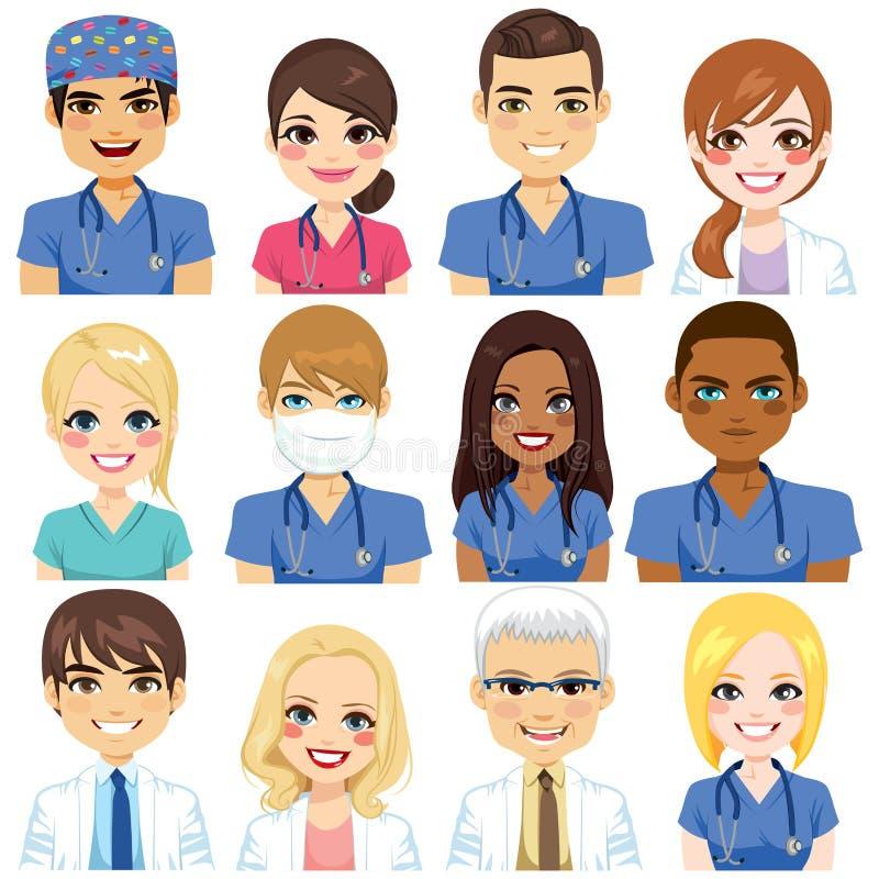 Krankenhaus Team Avatar lizenzfreie abbildung