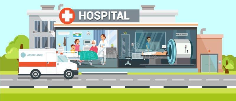 Krankenhaus-und Krankenwagen-flache Vektor-Illustration stock abbildung