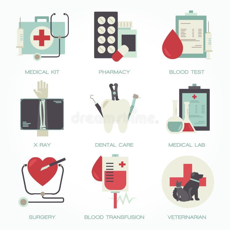 Krankenhaus und medizinischer flacher Ikonensatz lizenzfreie abbildung