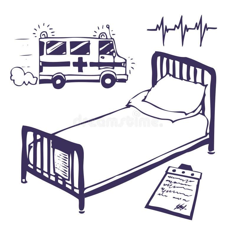 Krankenhausbett und -krankenwagen vektor abbildung