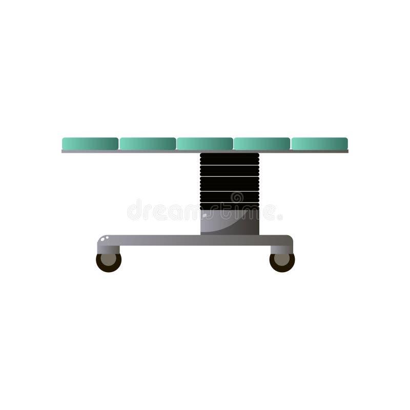 Krankenhausbett vom chirurgical Operationsraum mit gr?ner Matratze vektor abbildung