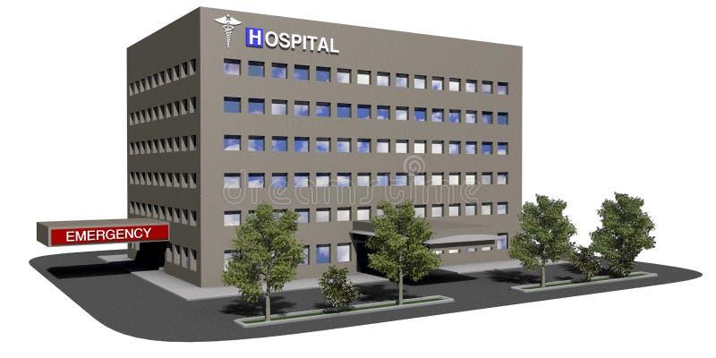 Krankenhausgebäude auf einem weißen Hintergrund