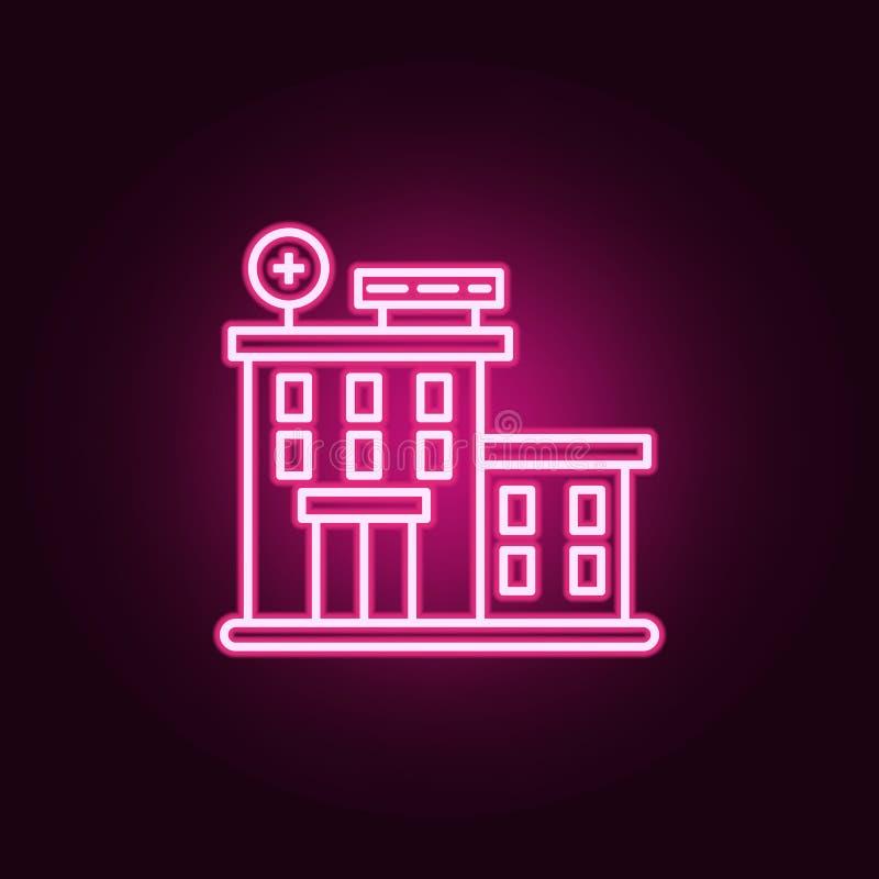 Krankenhausgebäudeikone Elemente des Krebstages in den Neonartikonen Einfache Ikone für Website, Webdesign, mobiler App, Informat vektor abbildung