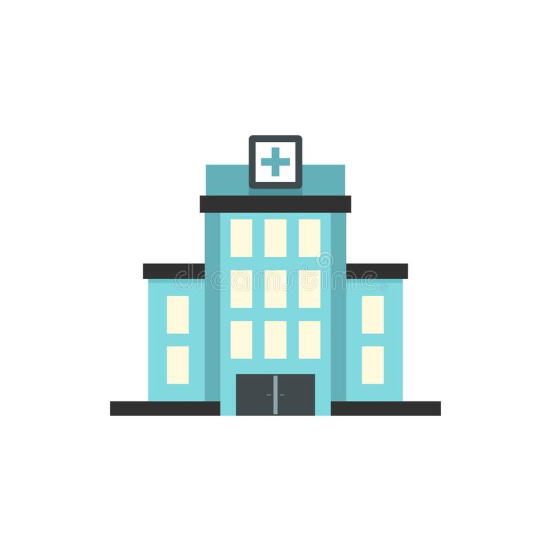Krankenhausgebäudeikone, flache Art lizenzfreie abbildung