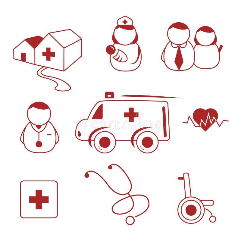 Krankenhausikonen lizenzfreie abbildung