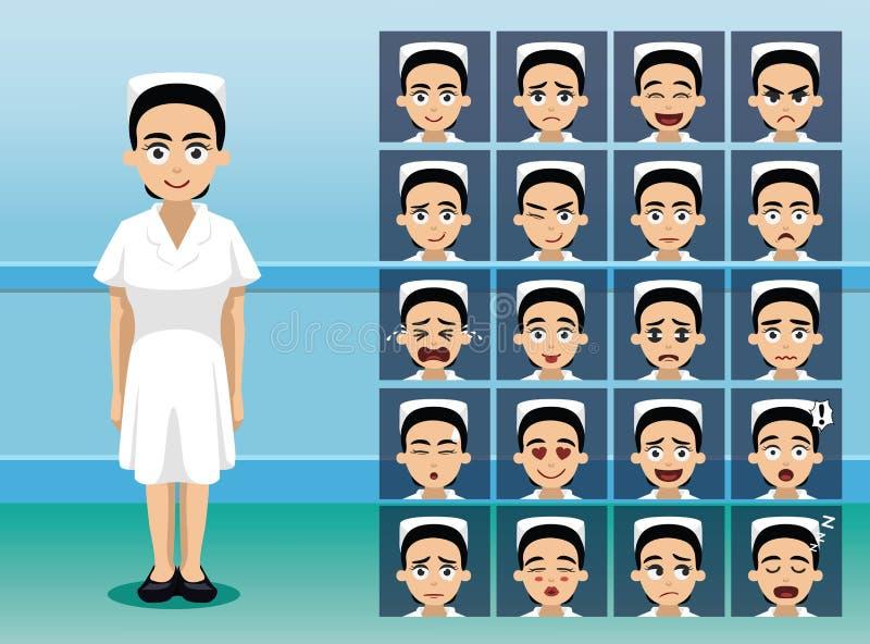 Krankenhauspersonal-Krankenschwester Cartoon Character Emotion stellt gegenüber stock abbildung