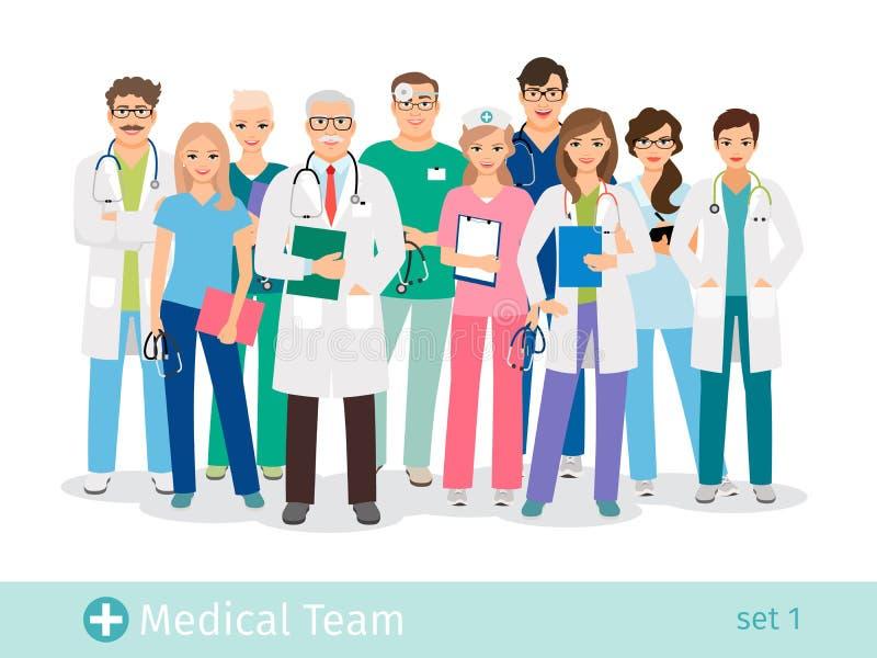 Krankenhausteam lokalisiert auf weißem Hintergrund stock abbildung