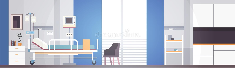 Krankenhauszimmer-Innenintensivtherapie-Patient Ward Banner With Copy Space stock abbildung