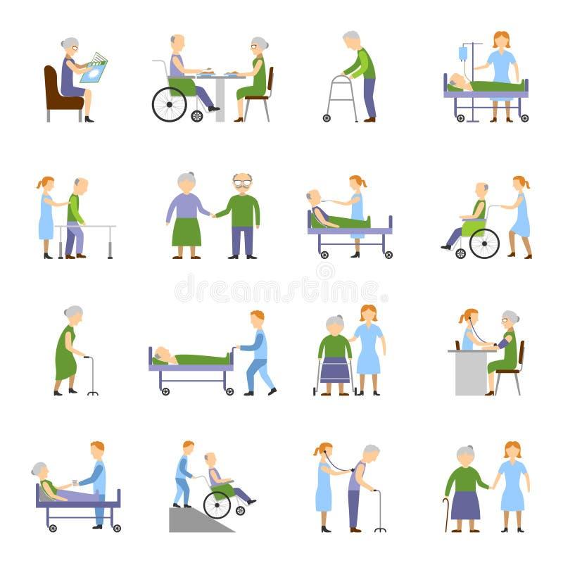 Krankenpflege-ältere Menschen Ikonen-eingestellt vektor abbildung