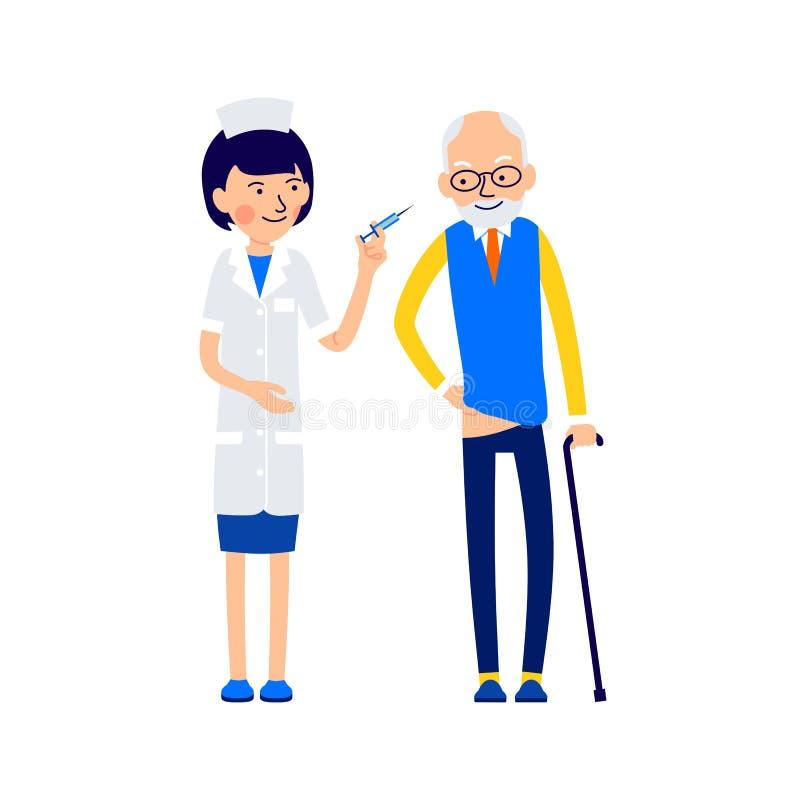 Krankenschwester bereitet vor sich, eine ältere geduldige medizinische Einspritzung zu machen lizenzfreie abbildung