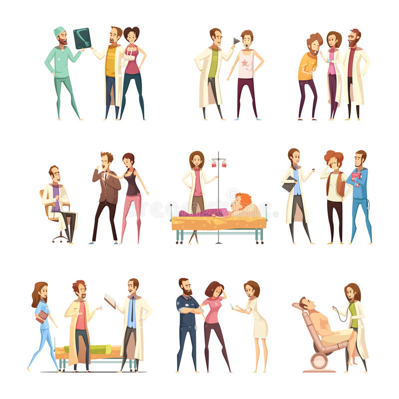 Krankenschwester-Cartoon Characters Decorative-Ikonen lizenzfreie abbildung