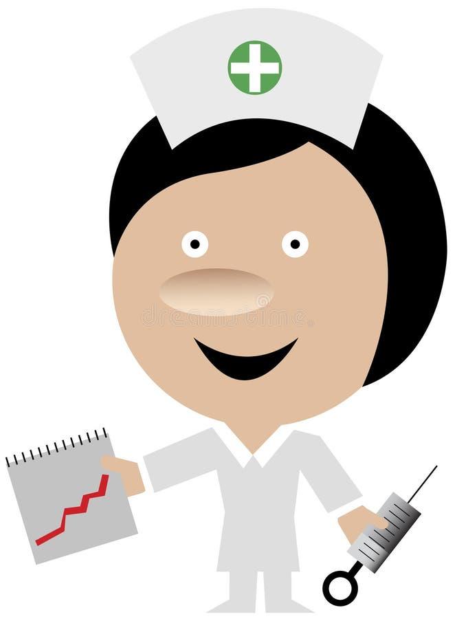 Krankenschwester, die ein Journal und eine Spritze anhält stock abbildung
