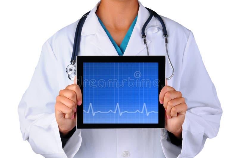 Krankenschwester-With-EKG Tablet lizenzfreie stockfotos
