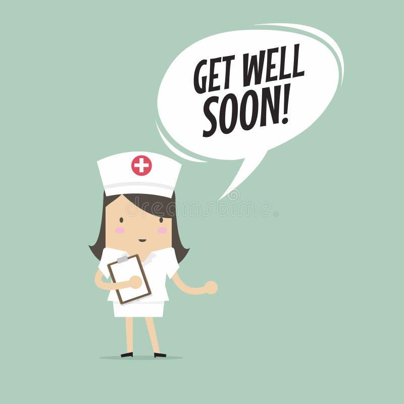 Krankenschwester mit erhalten wohle bald Sprache-Blase vektor abbildung