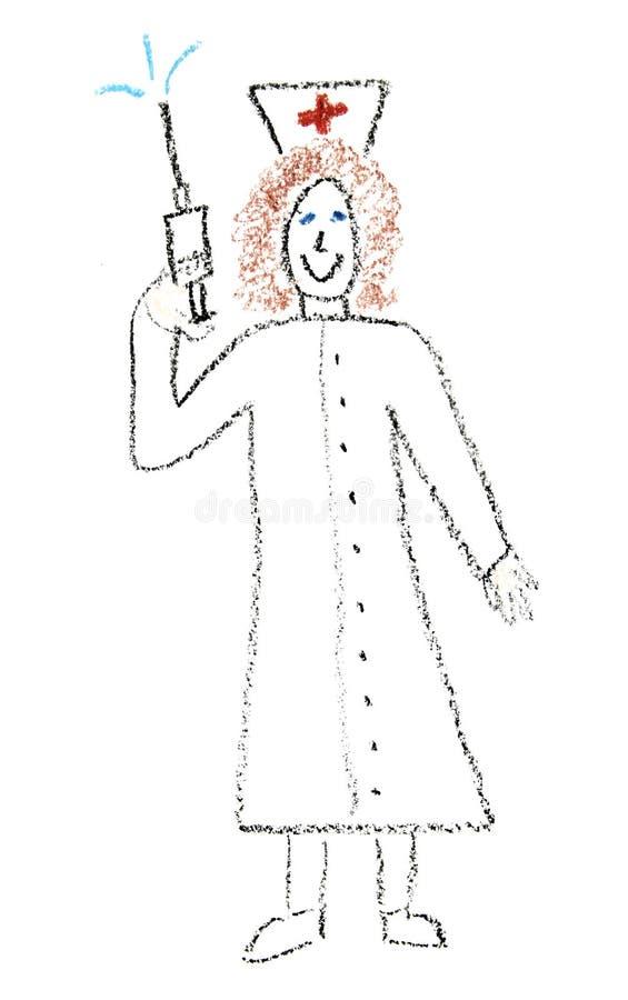 Krankenschwester mit Spritze stock abbildung
