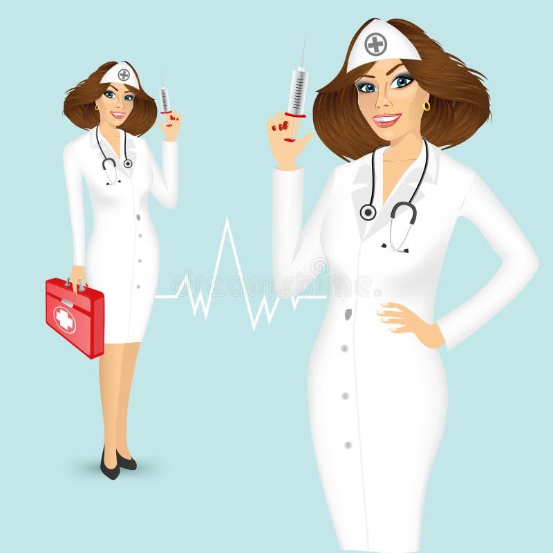 Krankenschwester Mit Spritze Und Hausapotheke Vektor