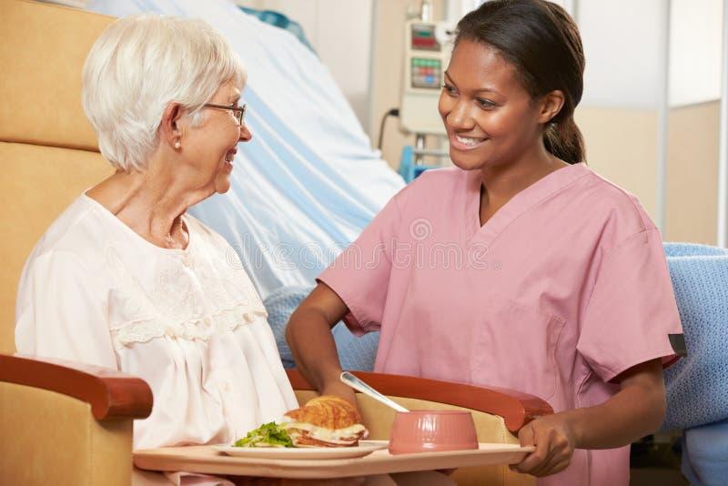 Krankenschwester-Umhüllungs-Mahlzeit zum älteren weiblichen Patienten, der im Stuhl sitzt stockfotografie