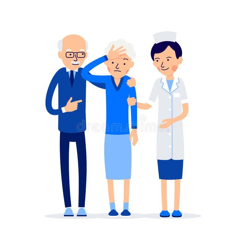 Krankenschwester und Patient Ältere Menschen, Mann und Frau stehendes folgendes t lizenzfreie abbildung