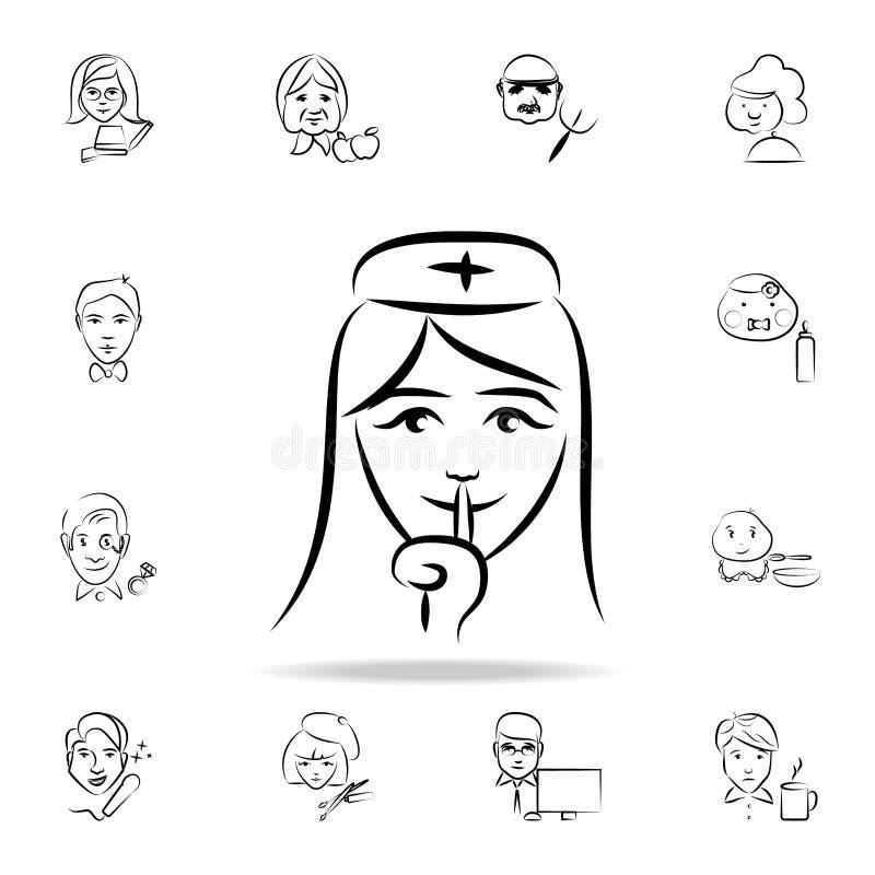 Krankenschwesteravataraskizzen-Artikone Ausführlicher Satz des Berufs in den Skizzenartikonen Erstklassiges Grafikdesign Ein der  vektor abbildung